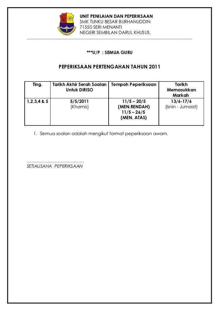 UNIT PENILAIAN DAN PEPERIKSAAN                            SMK TUNKU BESAR BURHANUDDIN                            71550 SER...