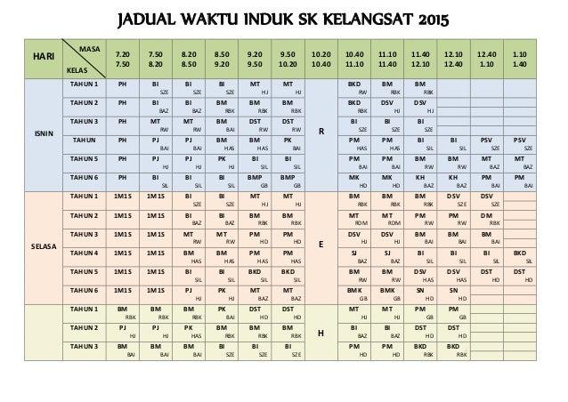 JADUAL WAKTU INDUK SK KELANGSAT 2015 HARI MASA KELAS 7.20 7.50 7.50 8.20 8.20 8.50 8.50 9.20 9.20 9.50 9.50 10.20 10.20 10...