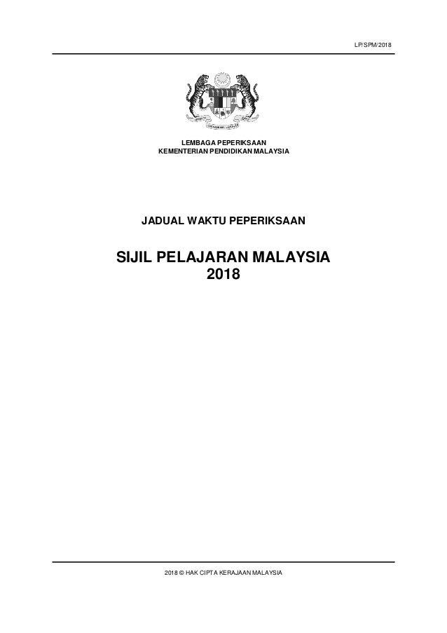 JADUAL WAKTU PEPERIKSAAN SIJIL PELAJARAN MALAYSIA 2018 2018 © HAK CIPTA KERAJAAN MALAYSIA LEMBAGA PEPERIKSAAN KEMENTERIAN ...