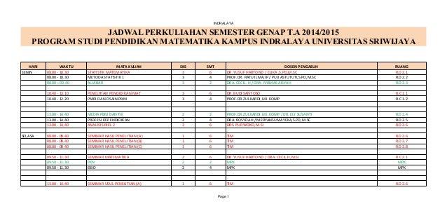 INDRALAYA Page 1 JADWAL PERKULIAHAN SEMESTER GENAP T.A 2014/2015 PROGRAM STUDI PENDIDIKAN MATEMATIKA KAMPUS INDRALAYA UNIV...