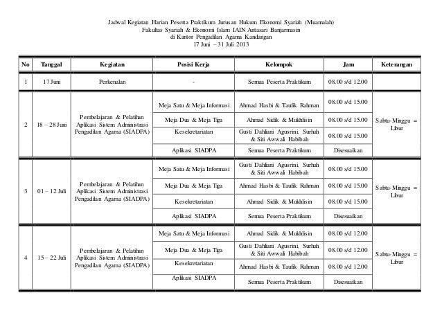Jadwal Kegiatan Harian Peserta Praktikum Di Pengadilan Agama Kandangan