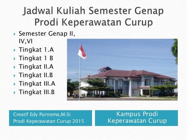 Creatif Edy Purnomo,M.Si Prodi Keperawatan Curup 2015 Kampus Prodi Keperawatan Curup  Semester Genap II, IV,VI  Tingkat ...