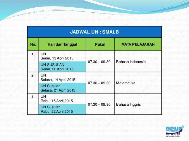 Jadwal Ujian Nasional Tahun 2015