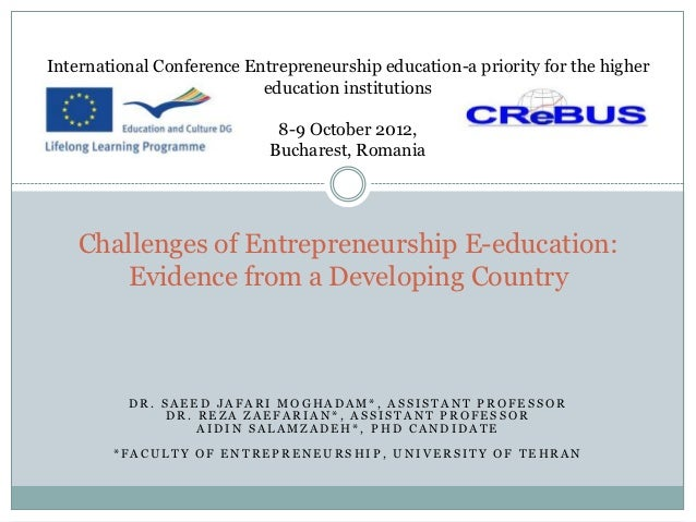 International Conference Entrepreneurship education-a priority for the higher                           education institu...