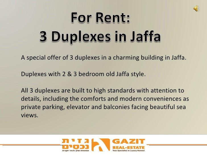 A special offer of 3 duplexes in a charming building in Jaffa.  Duplexes with 2 & 3 bedroom old Jaffa style. All 3 duplexe...
