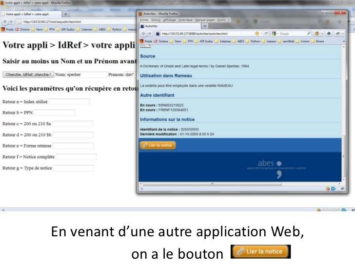 En venant d'une autre application Web, <br />on a le bouton<br />