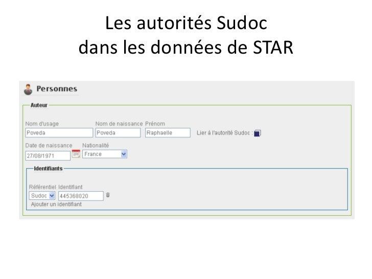Les autorités Sudocdans les données de STAR<br />