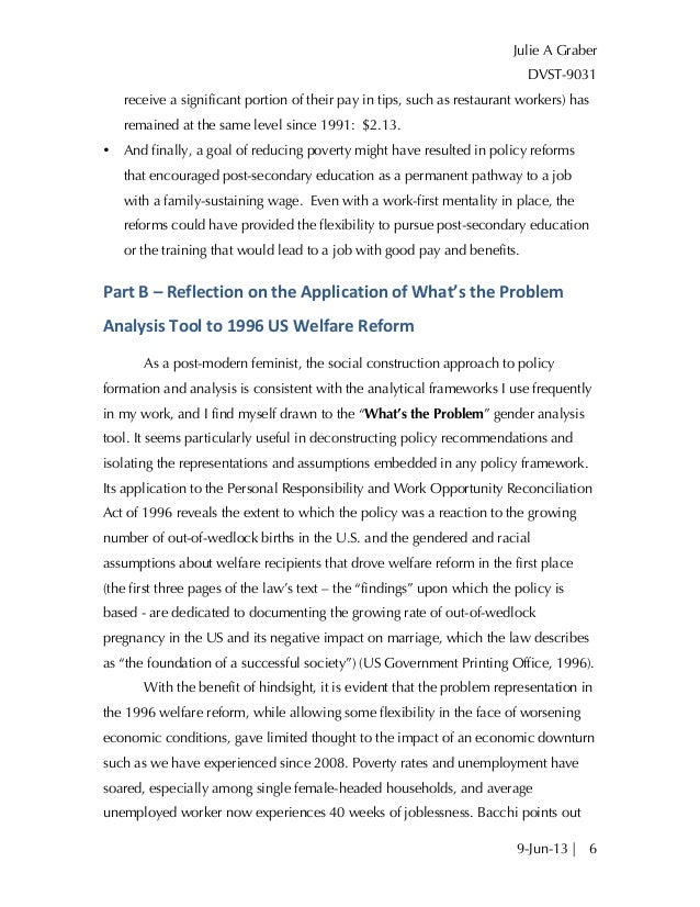 what s the problem policy analysis of us welfare reform  6