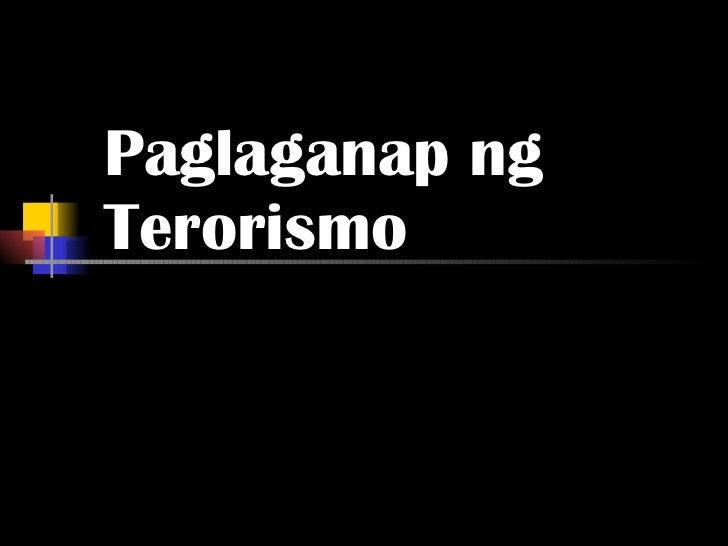 Paglaganap ng Terorismo