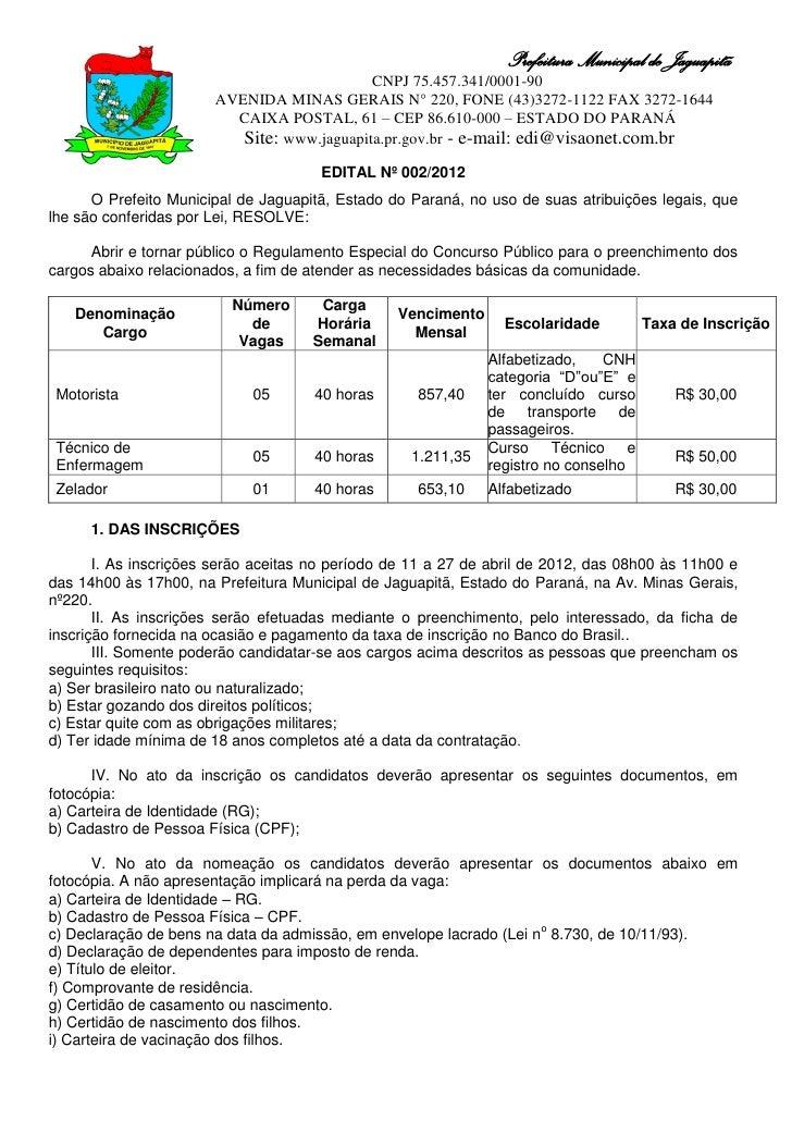 Prefeitura Municipal de Jaguapitã                                            CNPJ 75.457.341/0001-90                      ...