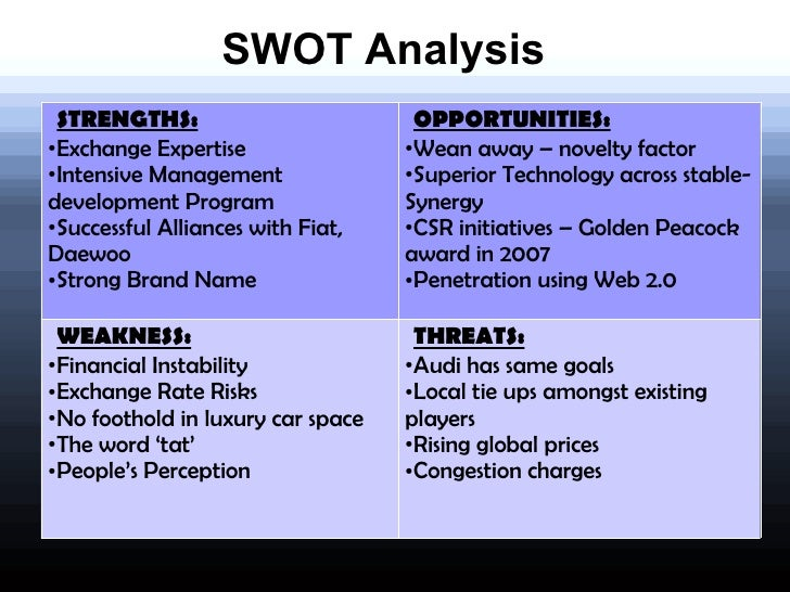 SWOT ANALYSIS ON General Motors Company