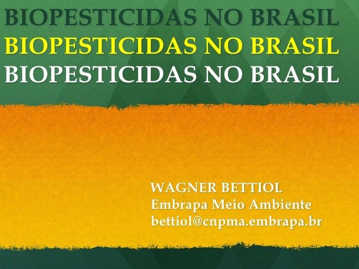 BIOPESTICIDAS NO BRASILBIOPESTICIDAS NO BRASILBIOPESTICIDAS NO BRASIL          WAGNER BETTIOL          Embrapa Meio Ambien...