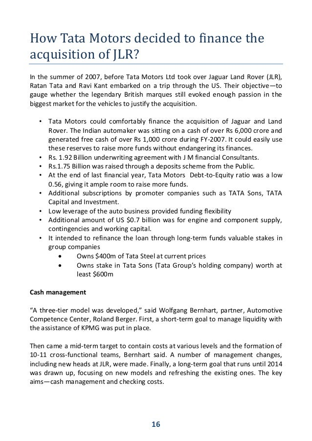 tata motors strategy case study on basis of mergers aquisation Tata motors case debrief to view this think more generally about what's tata motors' strategy and does the strategic benefit of this potential acquisition to.