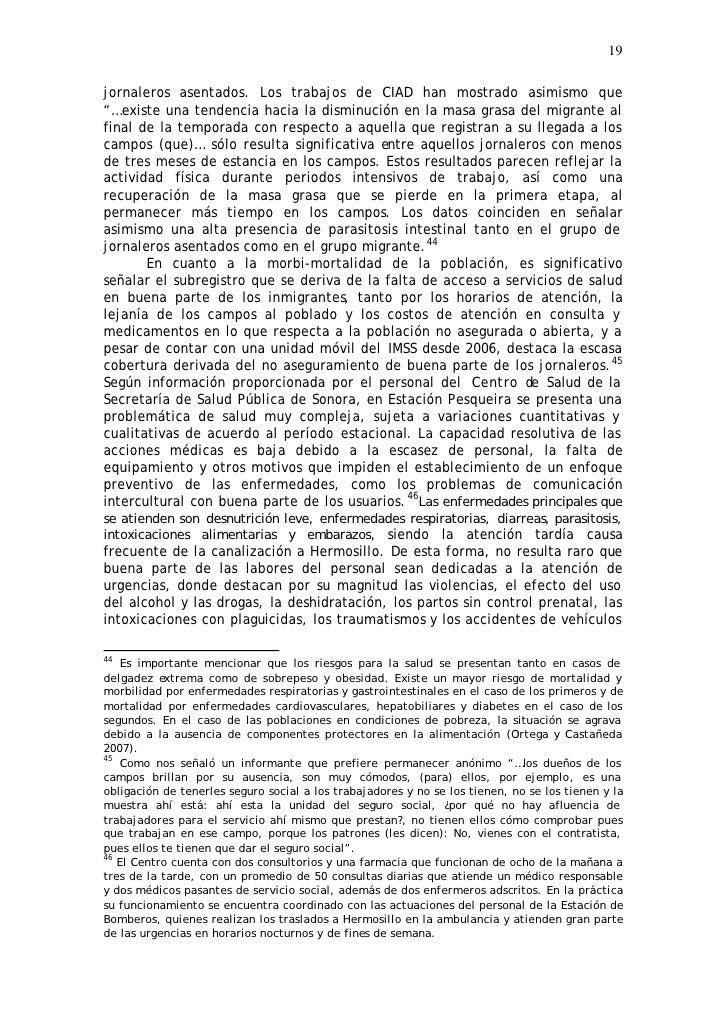 """19  jornaleros asentados. Los trabajos de CIAD han mostrado asimismo que """"…existe una tendencia hacia la disminución en la..."""