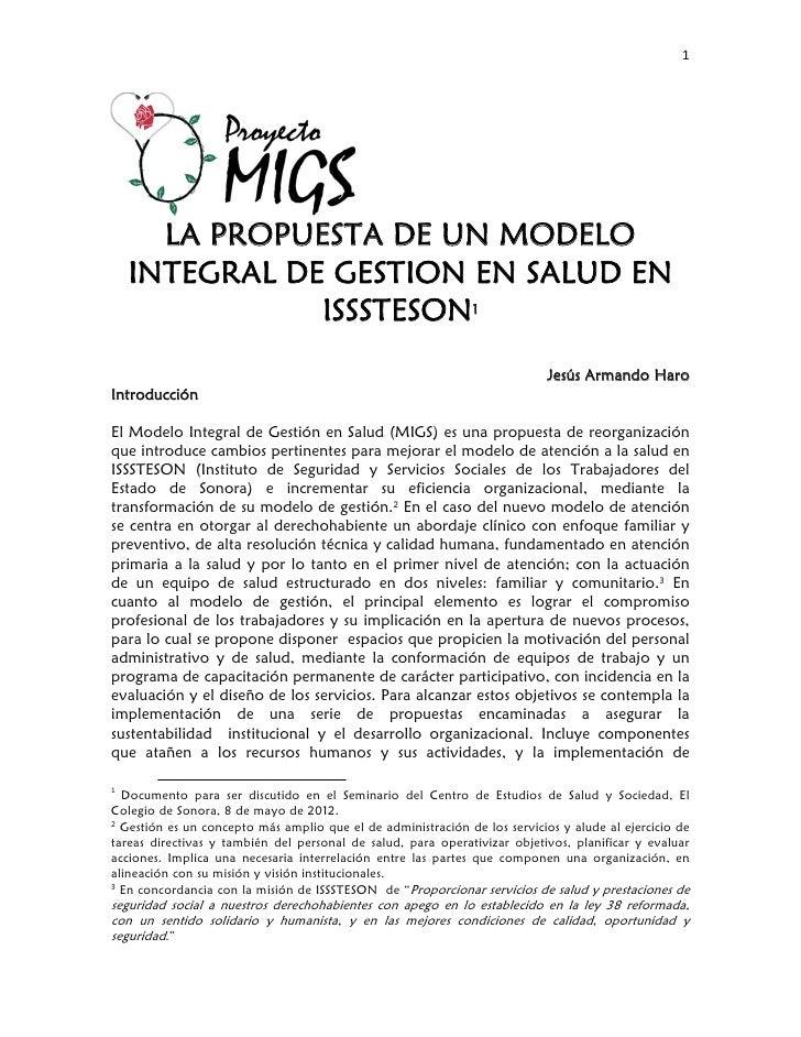 1              LA PROPUESTA DE UN MODELO    INTEGRAL DE GESTION EN SALUD EN               I...