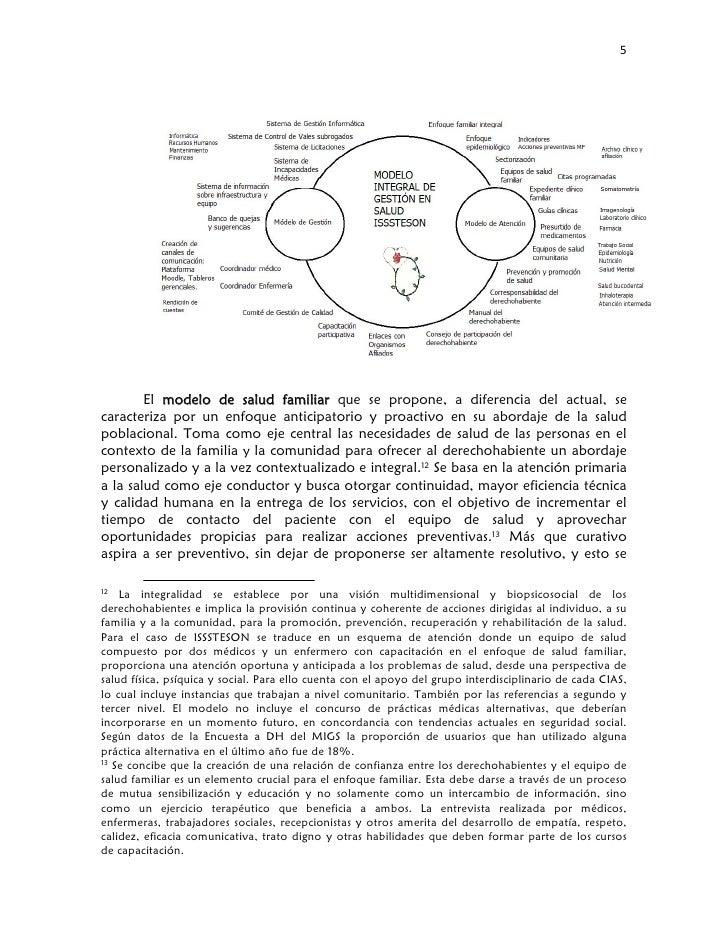 5                El modelo de salud familiar que se propone, a diferencia del actual, s...