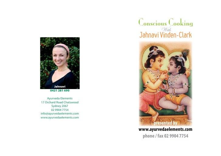 Conscious Cooking                                       With                             Jahnavi Vinden-Clark             ...