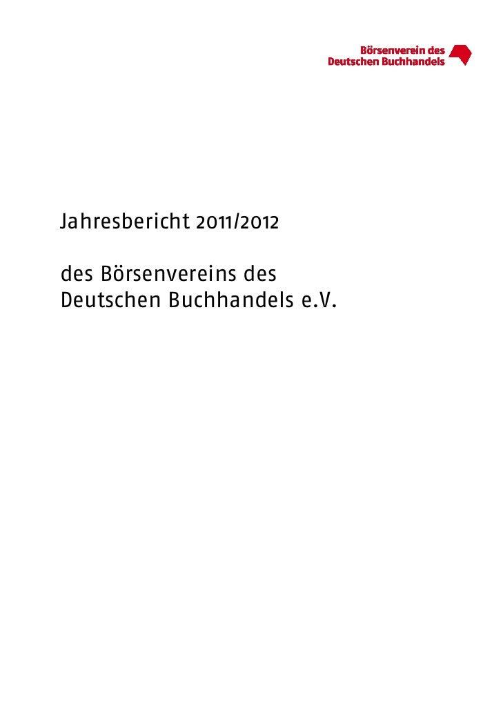 Jahresbericht 2011/2012des Börsenvereins desDeutschen Buchhandels e.V.