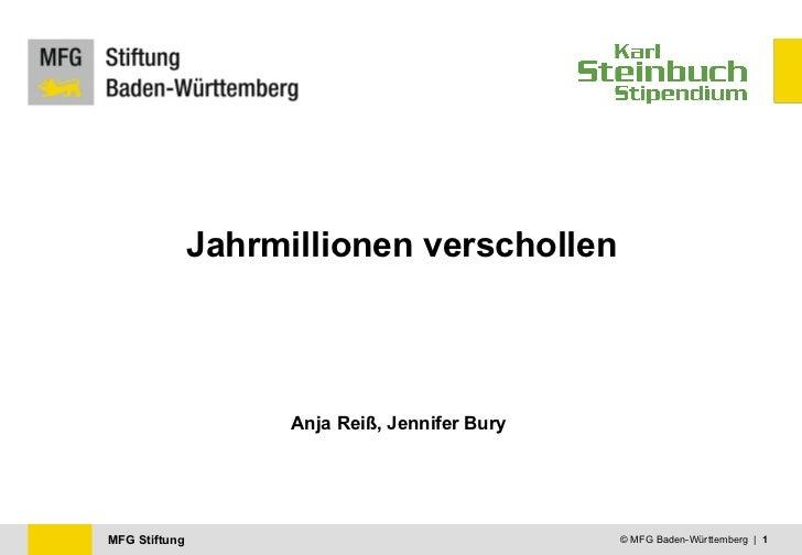 Jahrmillionen verschollen Anja Reiß, Jennifer Bury © MFG Baden-Württemberg  |