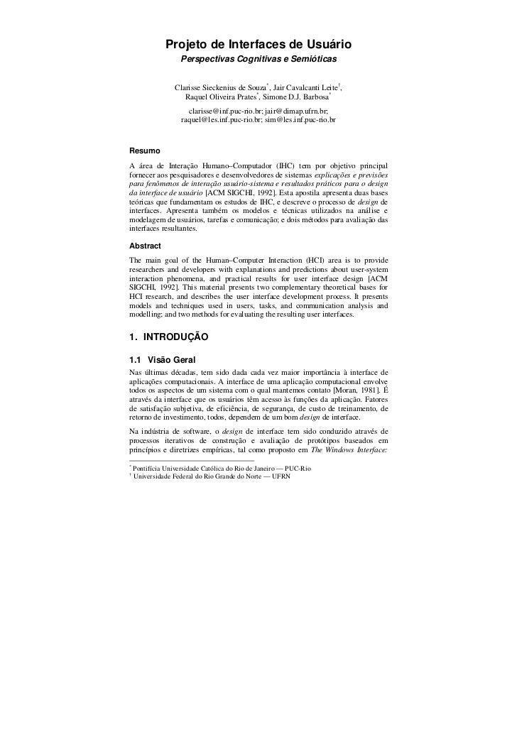 Projeto de Interfaces de Usuário                    Perspectivas Cognitivas e Semióticas                  Clarisse Siecken...