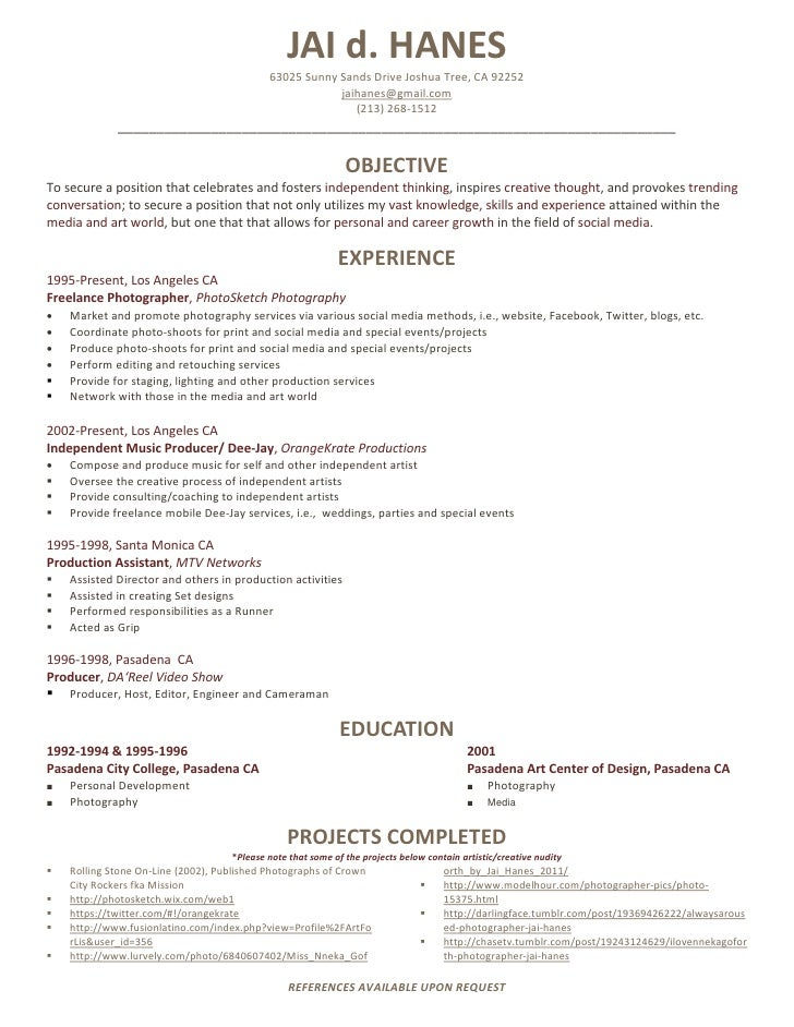 photography resume professional photographer resume objective examples