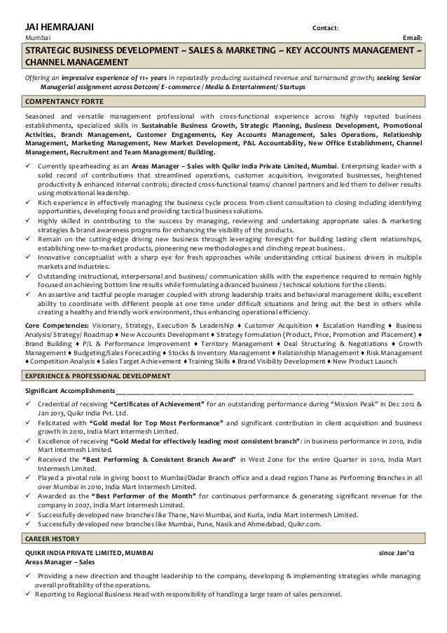 JAI HEMRAJANI Contact: Mumbai Email: STRATEGIC BUSINESS DEVELOPMENT ~ SALES & MARKETING ~ KEY ACCOUNTS MANAGEMENT ~ CHANNE...