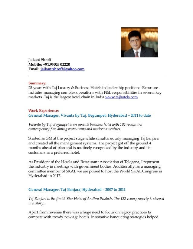 Modern Hotel General Manager Resume In Thailand Composition ...