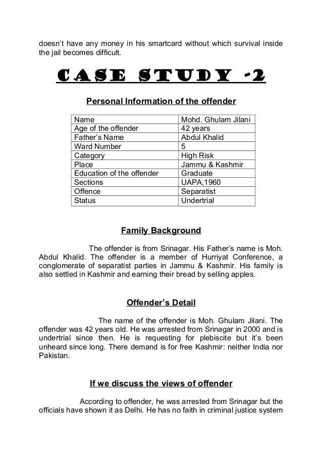 criminal justice case study Harassment and stalking case studies to supplement inspection findings from  the 2017 joint inspection into harassment and stalking, hmic.