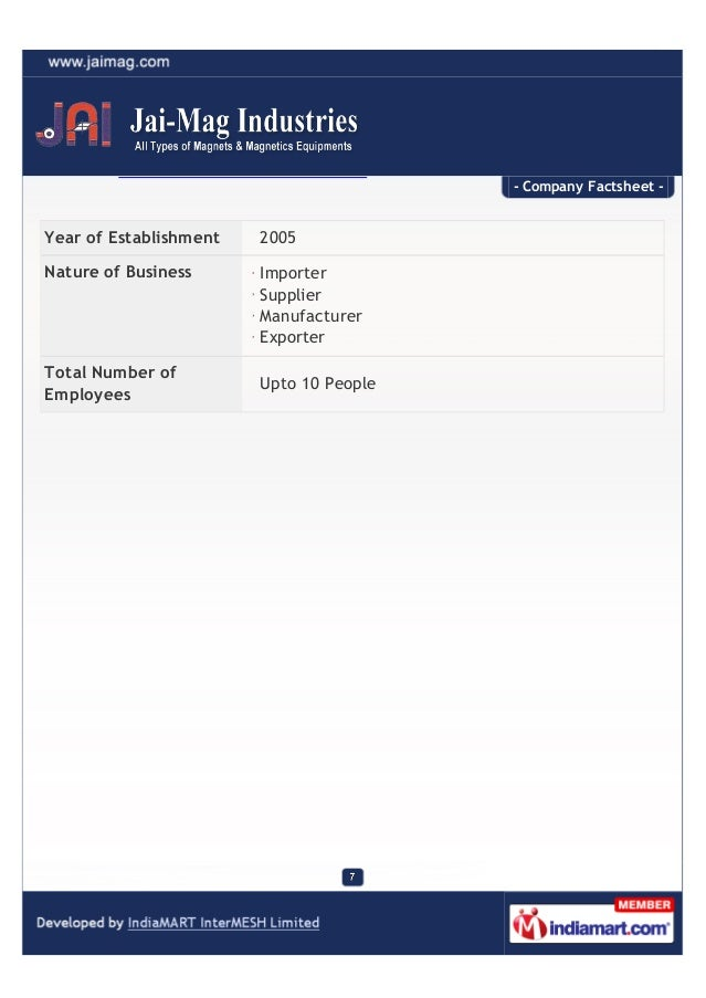 - Company Factsheet -Year of Establishment   2005Nature of Business      Importer                        Supplier         ...