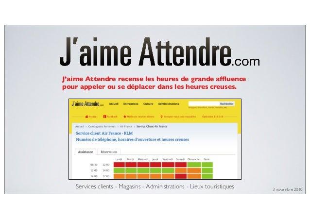 Services clients - Magasins - Administrations - Lieux touristiques J'aime Attendre recense les heures de grande affluence p...