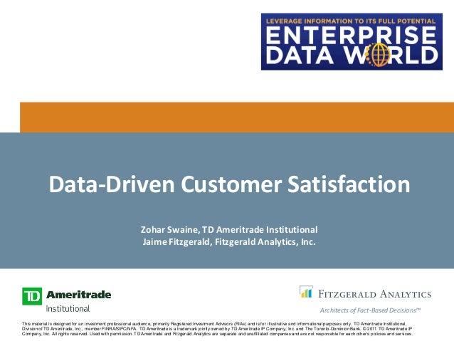 Data-Driven Customer Satisfaction                                                            Zohar Swaine, TD Ameritrade I...