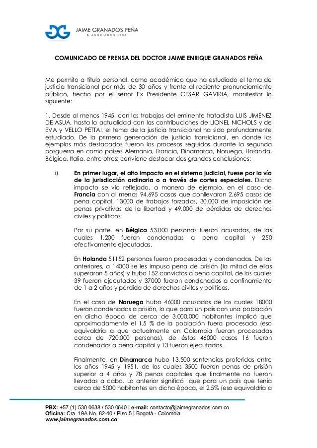PBX: +57 (1) 530 0638 / 530 0640 | e-mail: contacto@jaimegranados.com.co Oficina: Cra. 19A No. 82-40 / Piso 5 | Bogotá - C...
