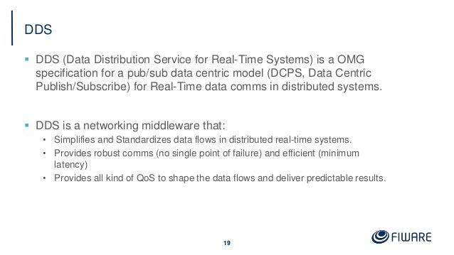 DDS  DDS (Data Distribution Service for Real-Time Systems) is a OMG specification for a pub/sub data centric model (DCPS,...