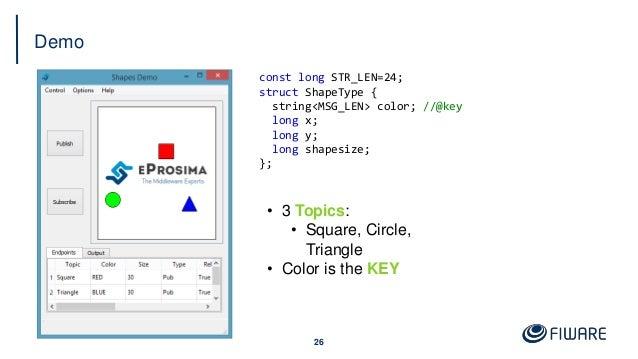 Demo 26 const long STR_LEN=24; struct ShapeType { string<MSG_LEN> color; //@key long x; long y; long shapesize; }; • 3 Top...
