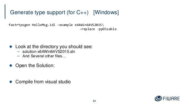Generate type support (for C++) [Windows] 31 fastrtpsgen HelloMsg.idl -example x64Win64VS2015 -replace -ppDisable  Look a...