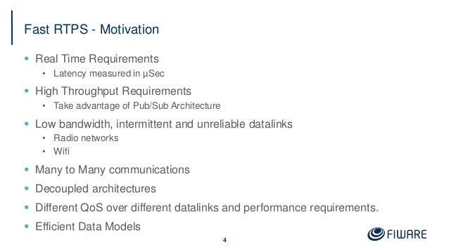 Fast RTPS - Motivation  Real Time Requirements • Latency measured in µSec  High Throughput Requirements • Take advantage...