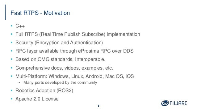 Fast RTPS - Motivation  C++  Full RTPS (Real Time Publish Subscribe) implementation  Security (Encryption and Authentic...