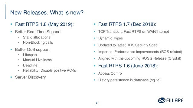 New Releases. What is new?  Fast RTPS 1.8 (May 2019):  Better Real-Time Support • Static allocations • Non-Blocking call...
