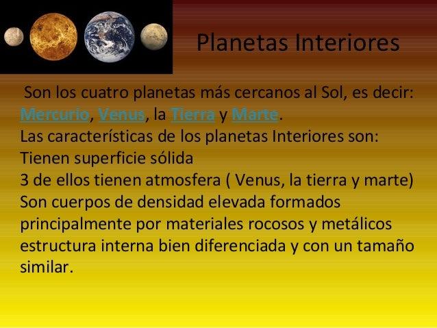 Jaime y viki - Caracteristicas de los planetas interiores ...