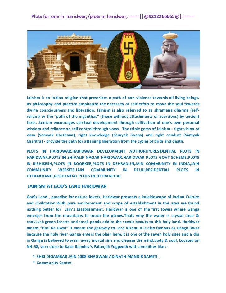 Plots for sale in haridwar,/plots in haridwar, ====||@9212266665@||====Jainism is an Indian religion that prescribes a pat...