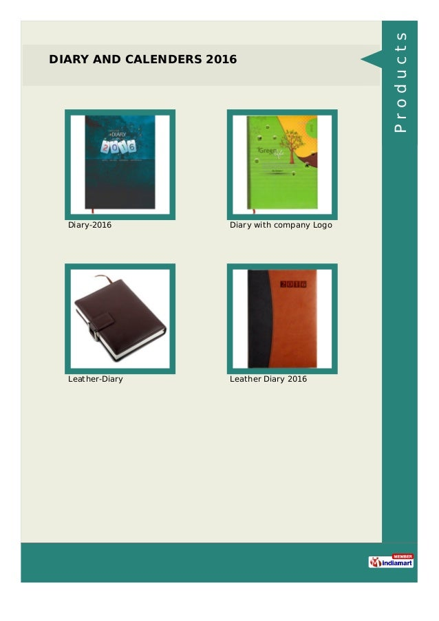 DIARY AND CALENDERS 2016 Diary-2016 Diary with company Logo Leather-Diary Leather Diary 2016 Products