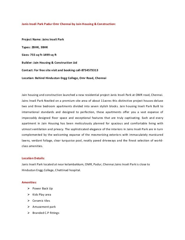 Janis Inseli Park Padur Omr Chennai by Jain Housing & Construction:Project Name: Jains Inseli ParkTypes: 2BHK, 3BHKSizes: ...