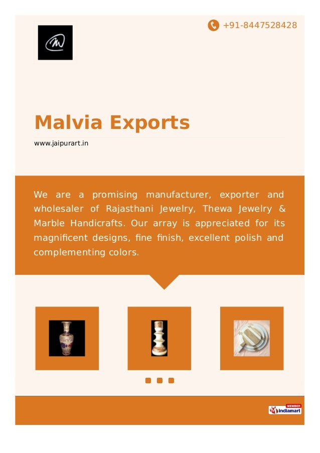 +91-8447528428 Malvia Exports www.jaipurart.in We are a promising manufacturer, exporter and wholesaler of Rajasthani Jewe...
