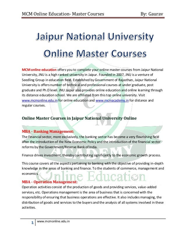 Online masters by coursework