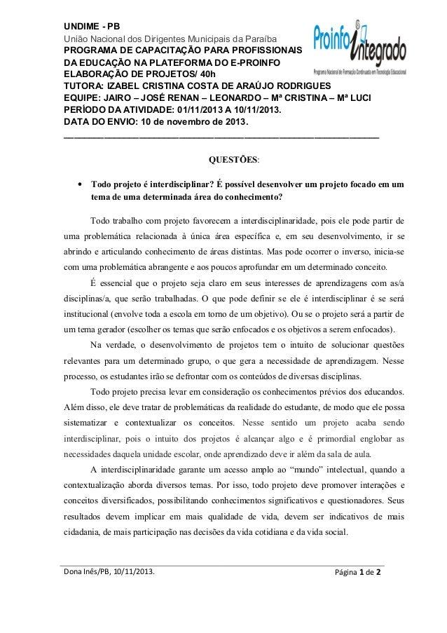 UNDIME - PB União Nacional dos Dirigentes Municipais da Paraíba PROGRAMA DE CAPACITAÇÃO PARA PROFISSIONAIS DA EDUCAÇÃO NA ...