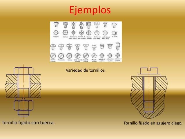 Ejemplos  Variedad de tornillos  Tornillo fijado con tuerca. Tornillo fijado en agujero ciego.