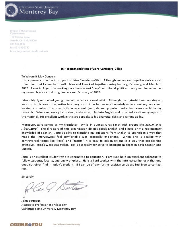 recommendation letter for research