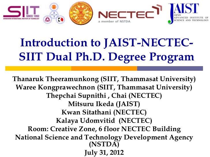 JAIST NECTEC SIIT PhD Dual Degree Program Presentation