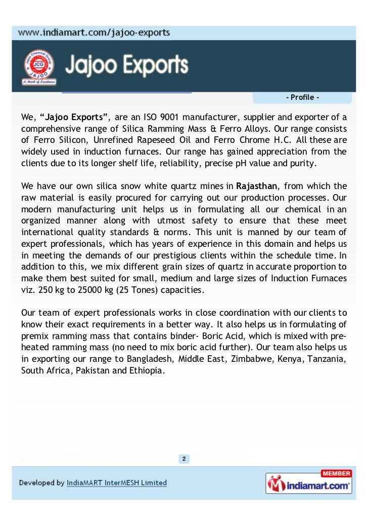 Jajoo Exports, Jaipur, Silica Ramming Mass And Ferro Alloys  Slide 2