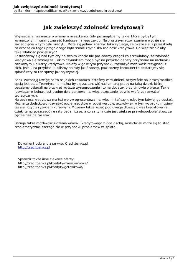 Jak zwiększyć zdolność kredytową?                                   by Bankier - http://creditbanks.pl/jak-zwiekszyc-zdoln...